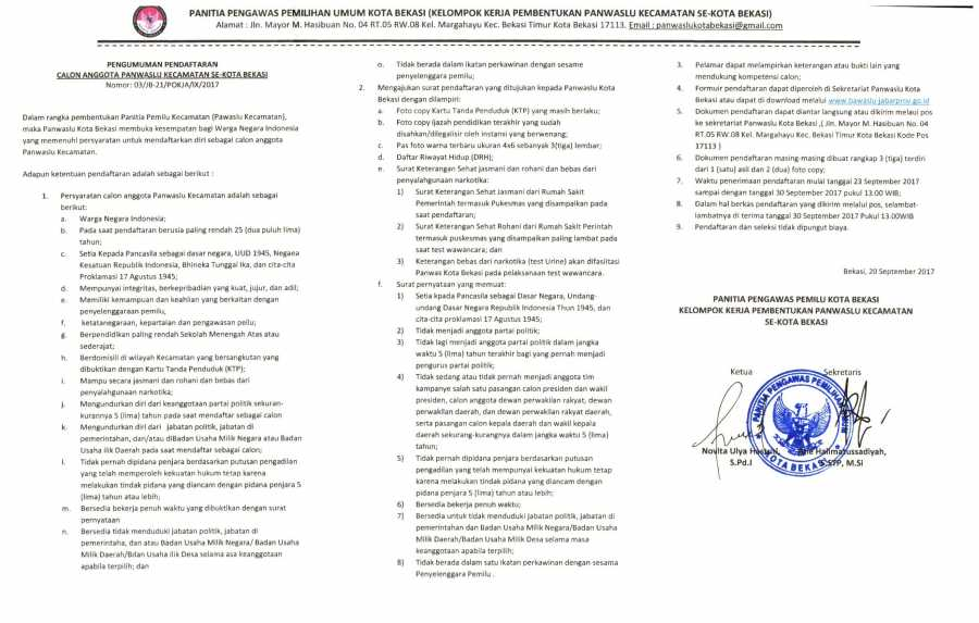 PENGUMUMAN : Pendaftaran Calon Anggota PANWASLU Se-Kecamatan Kota Bekasi