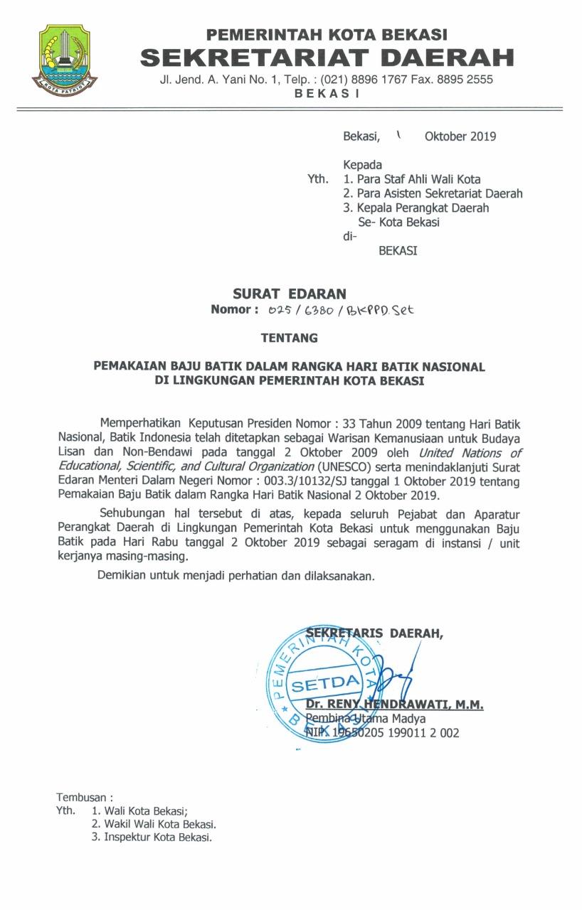 Pemerintah Kota Bekasi Pemakain Baju Batik Dalam Rangka
