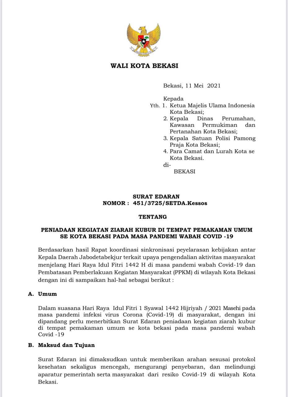 PEMKOT BEKASI LAKUKAN PENIADAAN GIAT ZIARAH KUBUR 12 s.d 16 MEI 2021